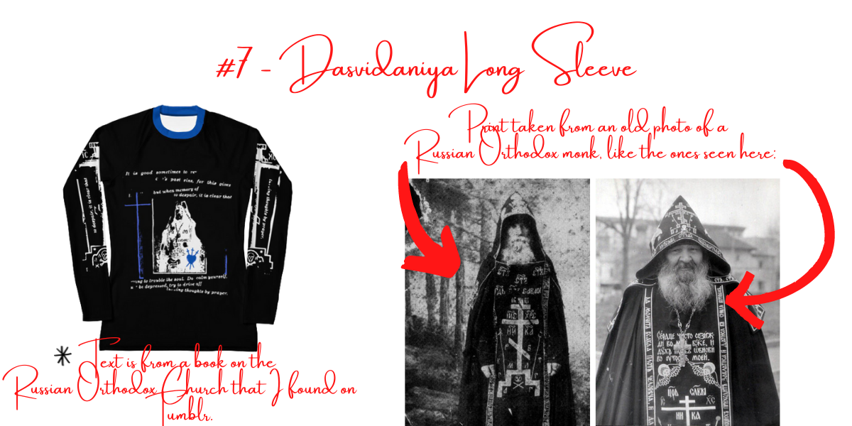 """Title of image says """"#7 Dasvidaniya Long Sleeve"""", as features two images of Russian Orthodox monks, as well as text discussing how the design of their robes influenced the design of the long sleeve."""