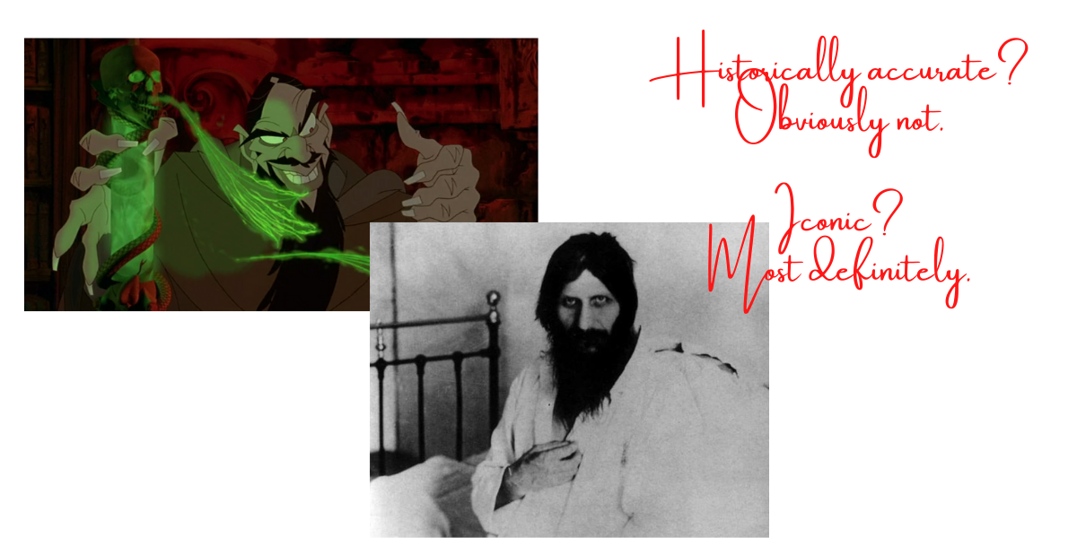 Two images (one of the animated Rasputin and one of the real one), accompanied with text briefly mentioning the cultural significance of the two.