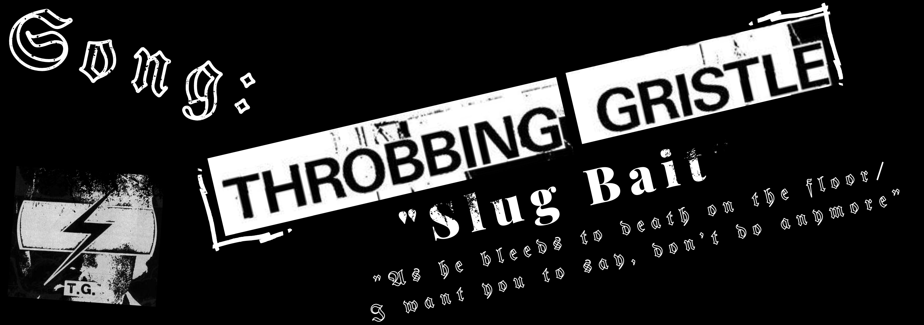 A black and white graphic that says Throbbing Gristle, Slug Bait, and lyrics from the song Slug Bait, featuring the band Throbbing Gristle's logo.