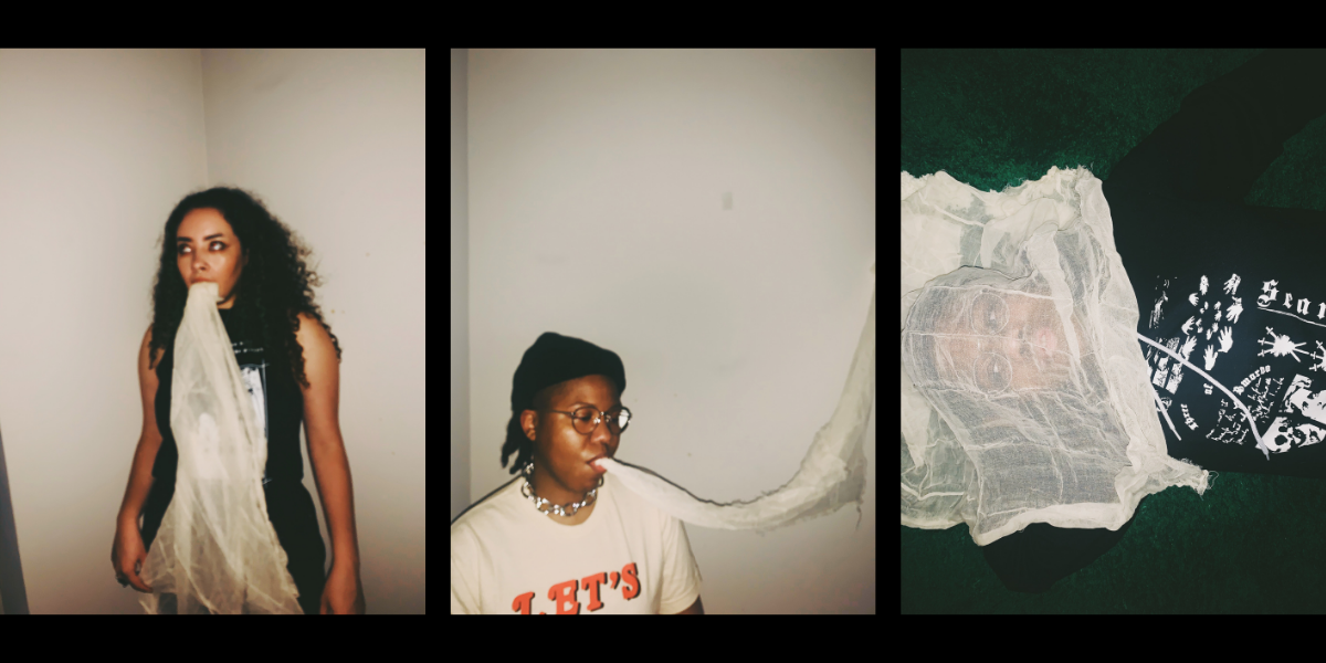 Three artistically blurred images of two women modeling Three of Swords clothing.