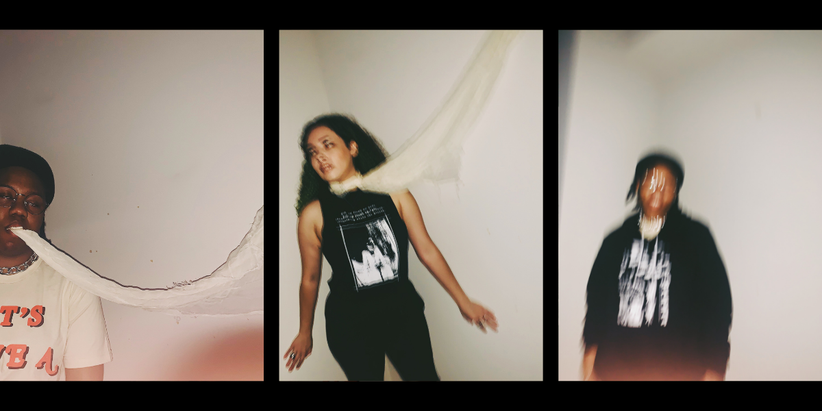 Three artistically blurred images of two female models wearing Three of Swords clothing.