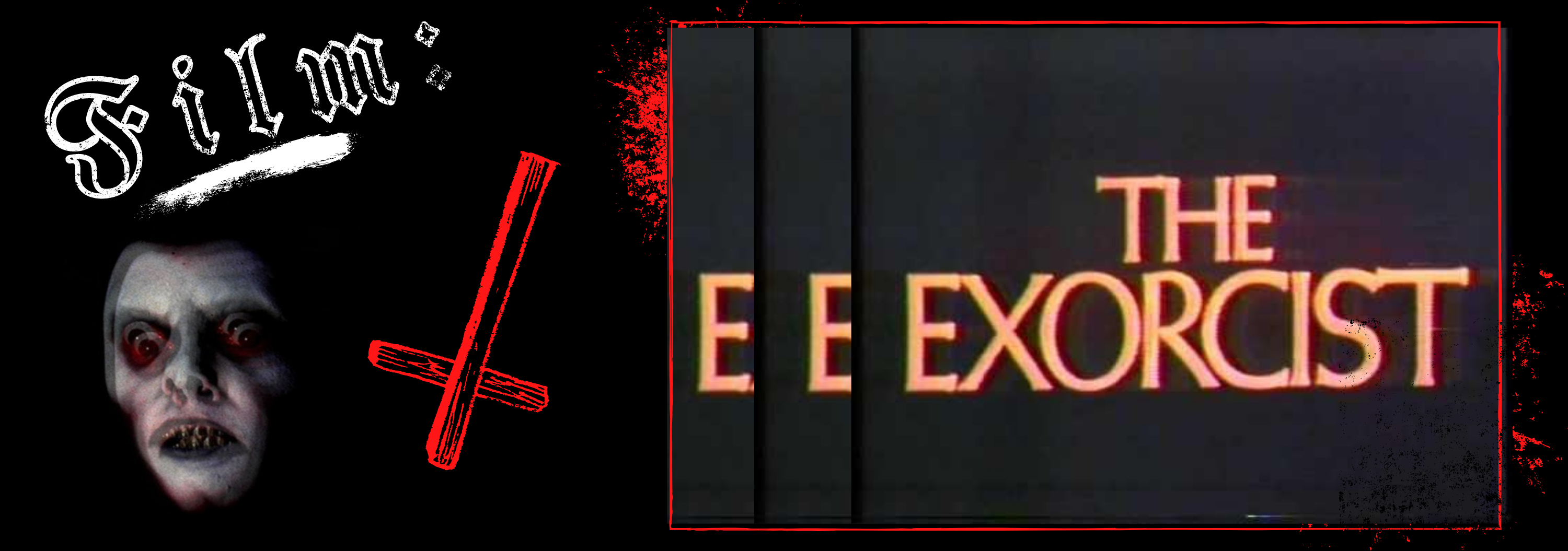 A black, white, and red graphic, featuring a red cross illustration, a screenshot of the demon Pazuzu from the film The Exorcist, and a screenshot from the film The Exorcist.