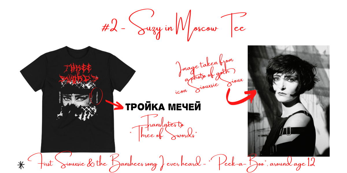 """Image with the title """"#2 Suzy in Moscow Tee,"""" features a mockup of the mentioned tee, a translation of the Russian found on the tee, and an image of Siouxsie Sioux. Image also features text that discusses how Siouxsie influenced the design of the tee."""
