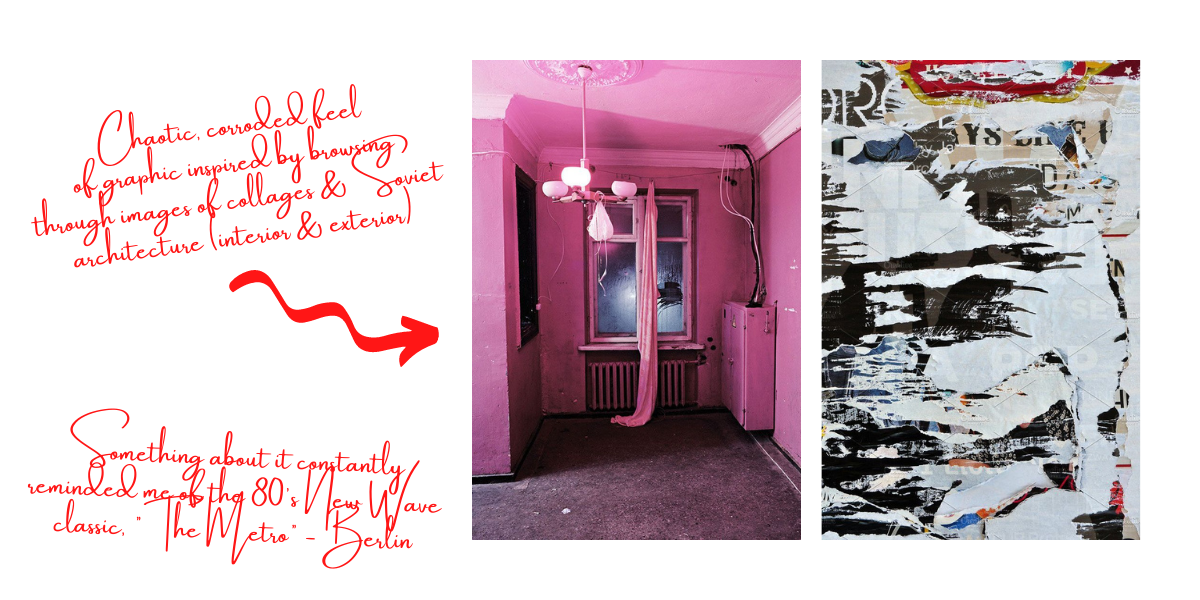 One image of an eroded, collage-like concrete wall and one image of a pink abandoned living room. Text on image discusses how the aesthetic of these images influenced the Suzy in Moscow Tee's design.