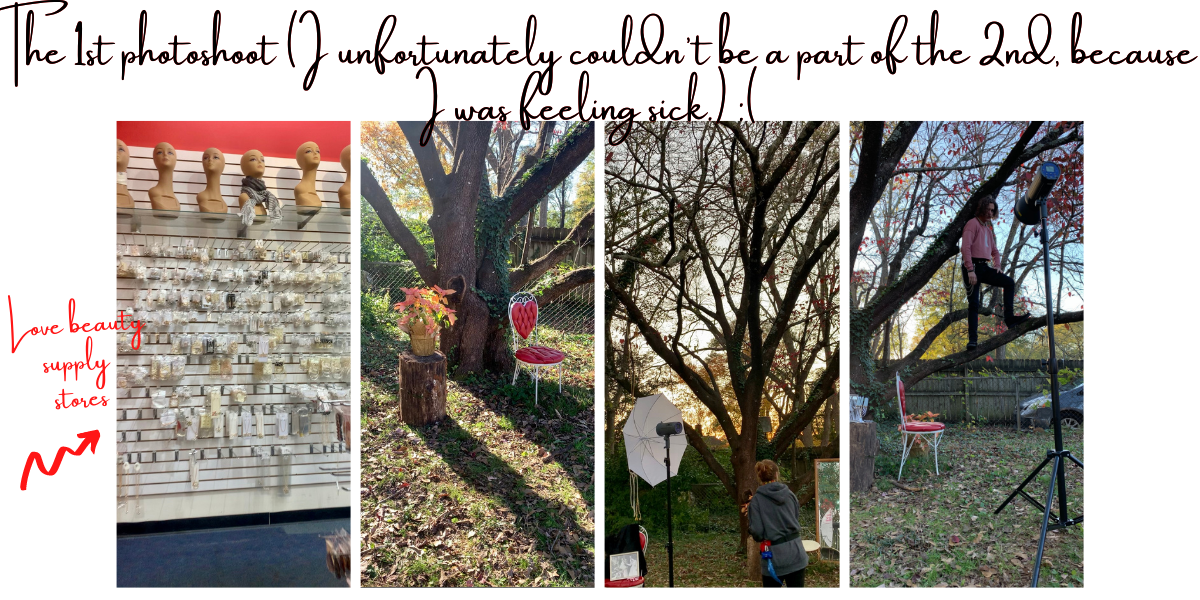 """4 images in a row: a wall of jewelry at a beauty supply store, a backyard with a large tree, our photographer getting her equipment ready, and a model standing and posing in a tree. The captions for this image: """"the 1st photoshoot (I unfortunately couldn't be a part of the 2nd, because I was feeling sick)"""" and """"love beauty supply stores."""""""