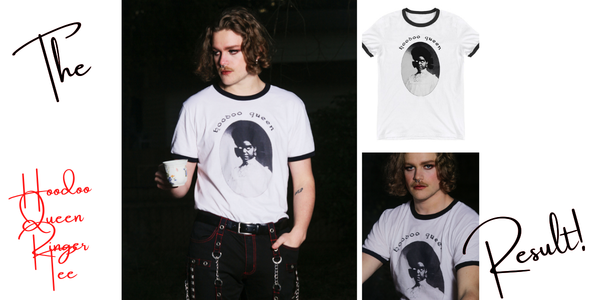 "3 images of an alternative model wearing the Hoodoo Queen Ringer Tee and holding a white tea cup. Captions for this image: ""the result"" and ""hoodoo queen ringer tee."""