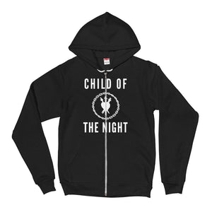 "A mockup of a black zip up hoodie with a white drawstring and one textured DTG print graphic on the center chest area that says ""Child of the Night"" in bold white text, accompanied with a stylized version of the Three of Swords logo in white chain circle"