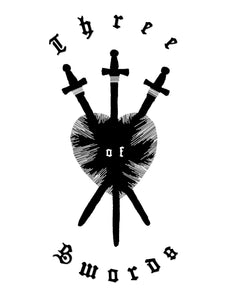 The official Three of Swords logo: three swords piercing a heart.