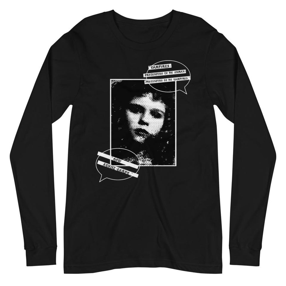 A mockup of a black long sleeve tee with a black and white textured DTG graphic of a distorted pic of Claudia from Anne Rice's Interview with the Vampire with two speech bubbles that has a quote from the film in a medieval, goth font