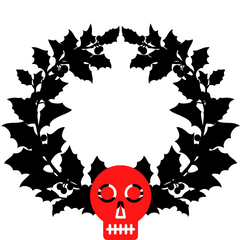 A black and red illustration of a Christmas wreath and red skull at the bottom of the wreath.