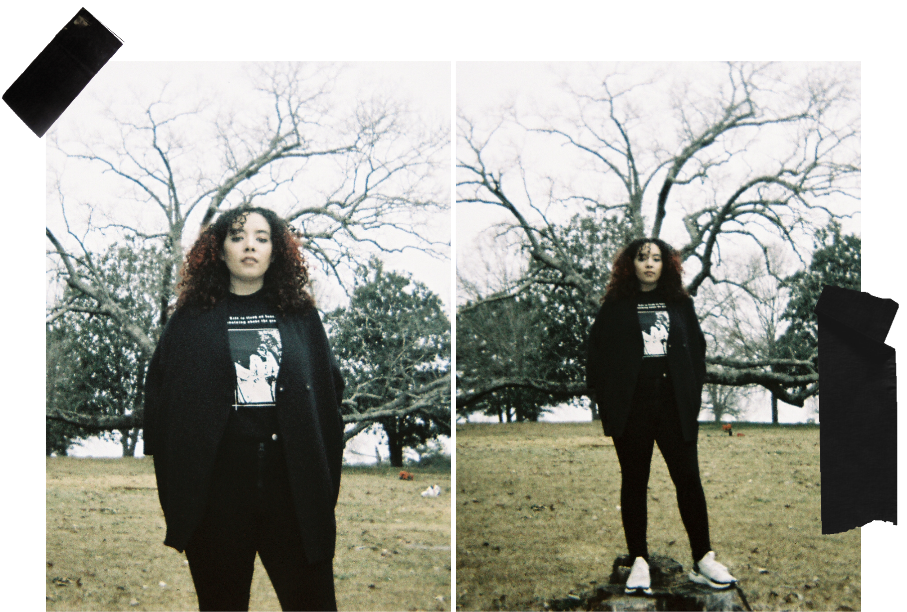 Two faded images shot on film of Three of Swords owner, Anya Gibson, wearing a black turtleneck, black kimono jacket, black pants, and white sneakers, standing on top of a stone in front of a tree in a cemetery.