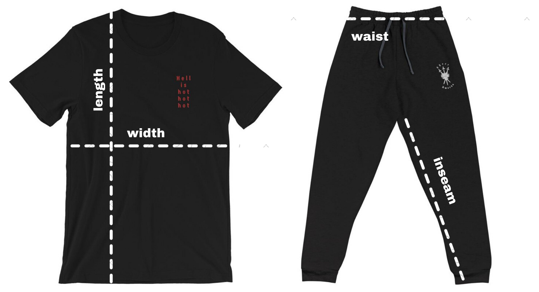 Two items from Three of Swords' Collection 1: Southern Gothic, a black tee and a pair of black joggers. Both have white dotted lines across them to show customers how to measure clothes for an ideal fit.
