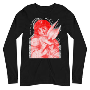 A black unisex long sleeve tee with a black, red, and white print of a multi-eyed angel, bordered by lyrics from Hark! The Herald Angels Sing in a goth font.