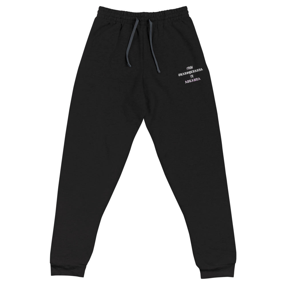 A mockup of a pair of black cotton and polyester fleece joggers with one embroidered graphic on the left upper thigh area that says