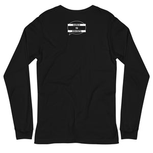 The back of a black, long sleeve tee with a small graphic below the collar of a white speech bubble that says THREE OF SWORDS in a black medieval, gothic font within the bubble.