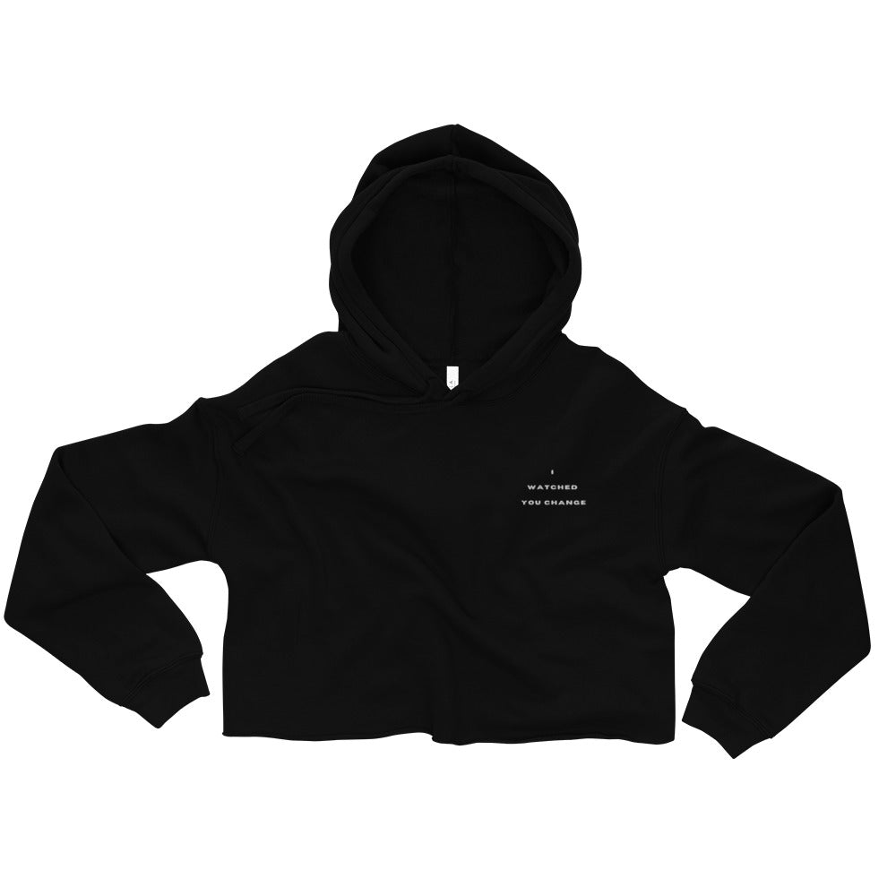 Black cotton and polyester fleece cropped hoodie that says