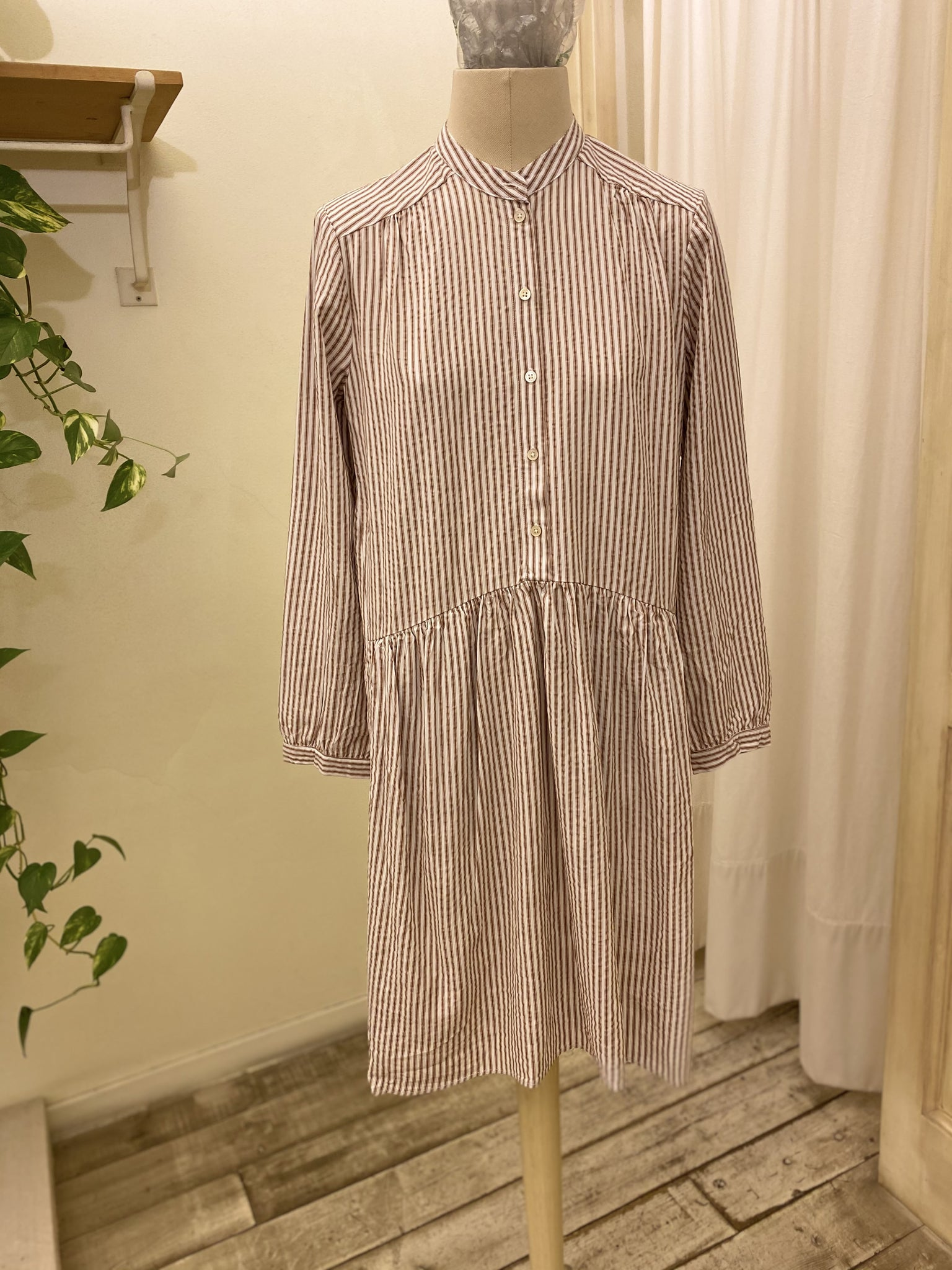 AUDREY DRESS - BELLEROSE _ white/brown