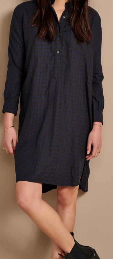 AMERIK DRESS BELLEROSE - BROWN/NAVY CHECK