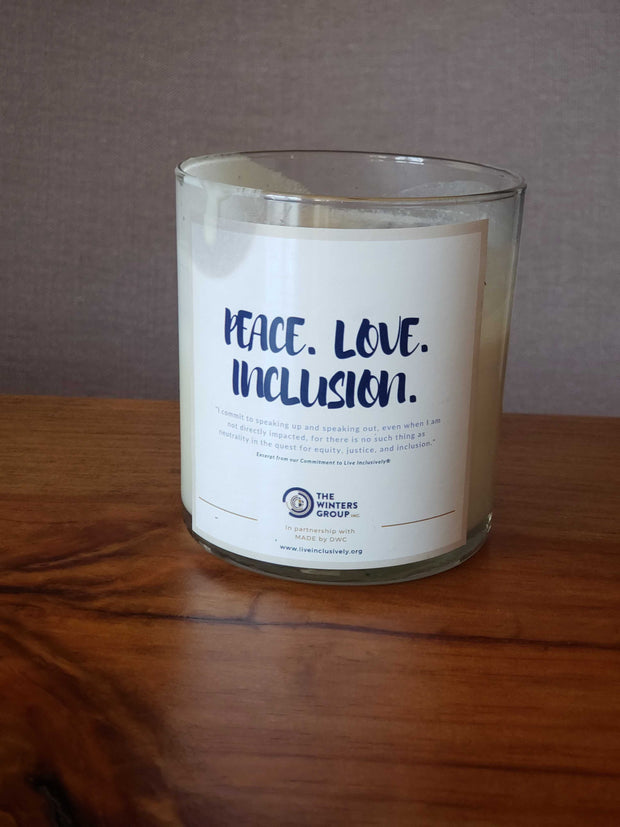 Peace. Love. Inclusion Candle (Lavender Scented)