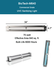 BioTech-M640 Commercial Grade 75 watt UVC Sterilizing Light - BioTech UV