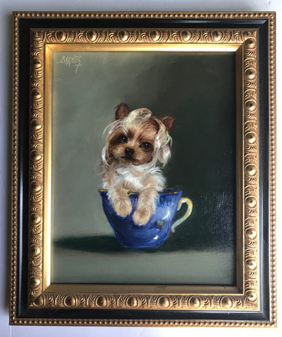 Teacup Terrier Yorkie Original Artist Signed Oil Painting Pup Dog Portrait w/ Big Blue Bow