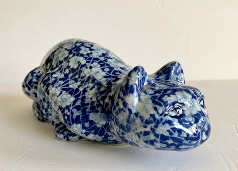 "Blue & White 10"" Crouching Calico Chintz Staffordshire Cat Figurine Transferware"