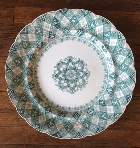 Antique Teal Green Transferware Plate Caledonian Tartan Plaid Staffordshire Ridgway