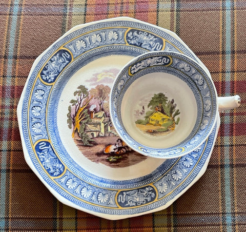 Bi-Color Blue & Purple Transferware Plate & Cup Snack Set  Farm Scene Cows