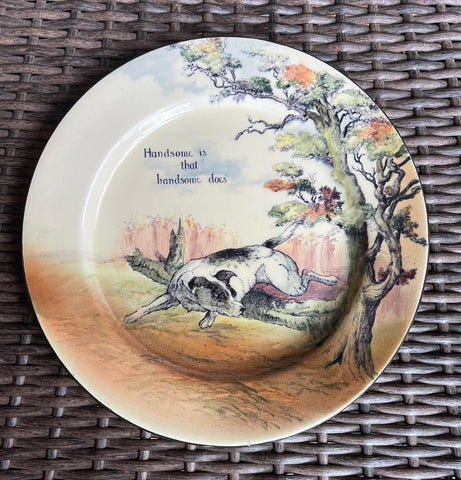 Royal Doulton Proverb Plate Handsome is that Handsome Does w/ English Setter