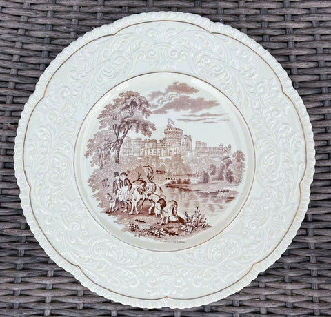 Vintage Brown English Charger Plate Embossed Border Stag Hunt Windsor Castle