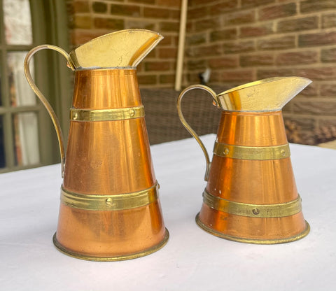 Set of 2 Vintage British Brass Banded Copper Pitchers