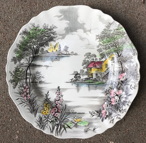 Dark Brown Hand Painted English Cottage Transferware Plate