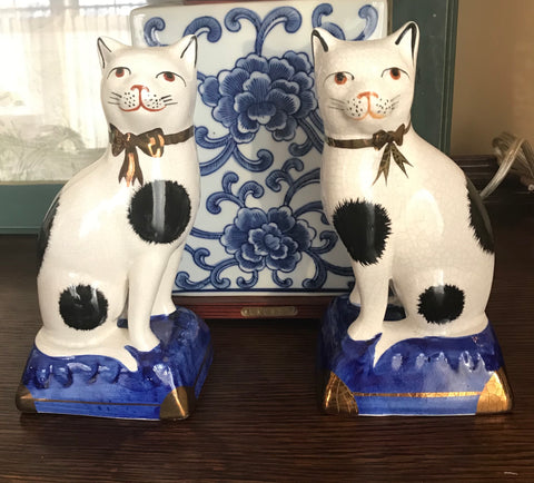 Antique Pair Black & White Staffordshire Cat Figurine on Cobalt Base - English Country Decor