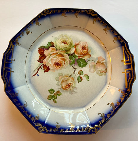 Flow Blue Tab Handled Octagon Platter w/ Painted Peach & Cream Roses * Gilded Accents