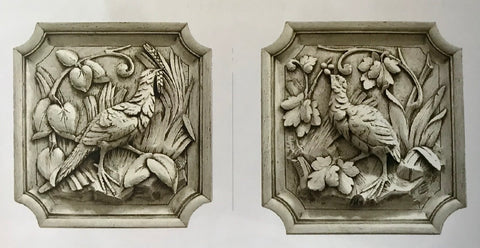 Pair of Left & Right Facing Dimensional Architectural Pheasant Game Bird Plaques