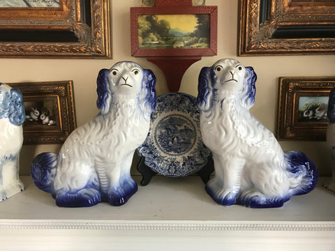 LG Pair Antique Arthur Wood Blue & White English Staffordshire Spaniel Dog Figurines