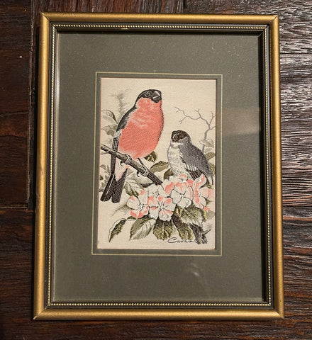Vintage English Woven Silk Bullfinch Birds & Blossoms Picture Framed & Matted
