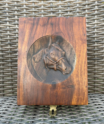 Carved Equestrian Horse Head Wood Keepsake Jewelry Box w Mirror