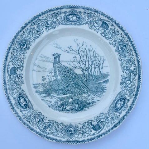 Dark Teal Blue Transferware Plate Masons Game Birds Woodland Pheasant