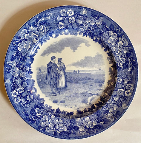 Vintage Wedgwood Blue Toile Transferware Plate Pilgrim Couple / Thanksgiving China