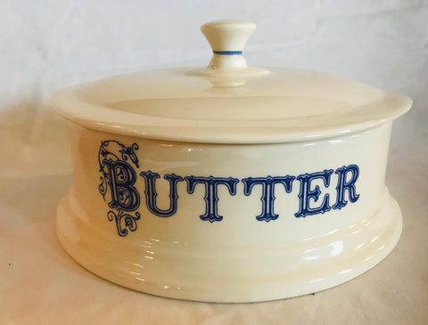 English Blue & White Advertising Transferware BUTTER Dish