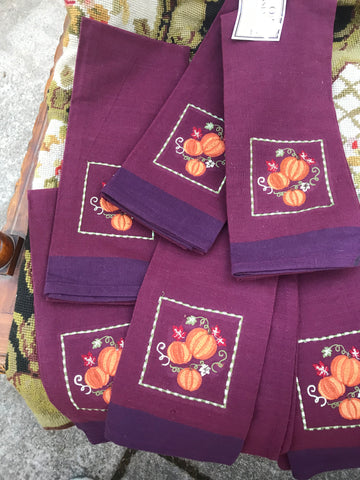 Set of 6 Embroidered Autumn Pumpkin & Vine Napkins  Kitchen Dish Tea Towel