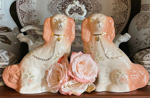 Pair Vintage Peachy Pink & Cream Romantic Victorian Chintz English Staffordshire Dogss