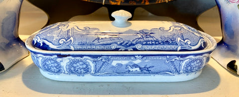 Antique Blue Transferware Razor Toothbrush Trinket Box