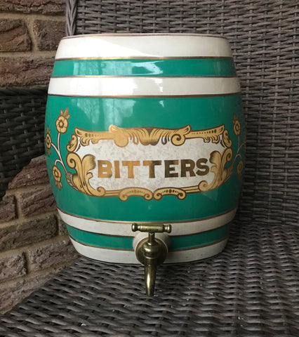 HUGE 19C Antique English Victorian BITTERS Spirits Barrel  Keg for LAMP / DECOR / BAR