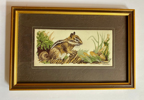 Vintage English Woven Silk Chipmunk w/ Acorn  Matted & Gold Frame
