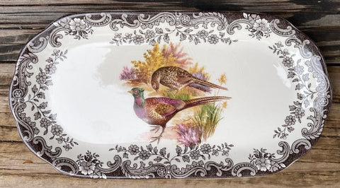 Brown Transferware English Platter / Tray Pheasants & Roses Game Bird Series