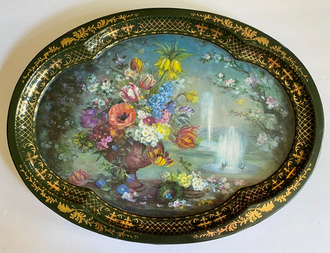 Vintage English Garden Scene Tole Tray Spring Fointains Tulips Bird Nest Chatsworth