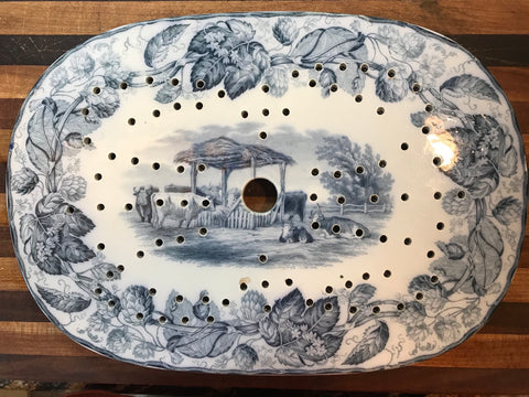 Transferware Drainer Platter Copeland 1880 RURAL SCENES by DUNCAN with Hops Border
