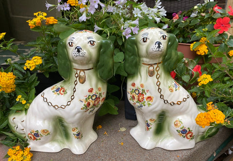 Vintage Rare Pair of Green & cream Floral Chintz English Staffordshire Spaniel Dog Figurines